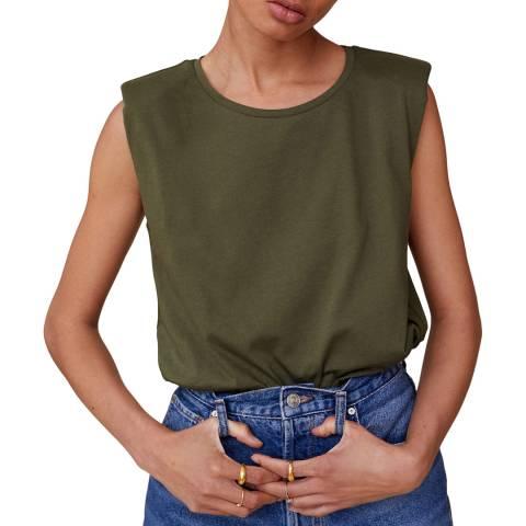 Mango Khaki Shoulder Pad Cotton T-Shirt