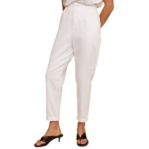 Mango Off White Waist Straight Slouchy Jeans