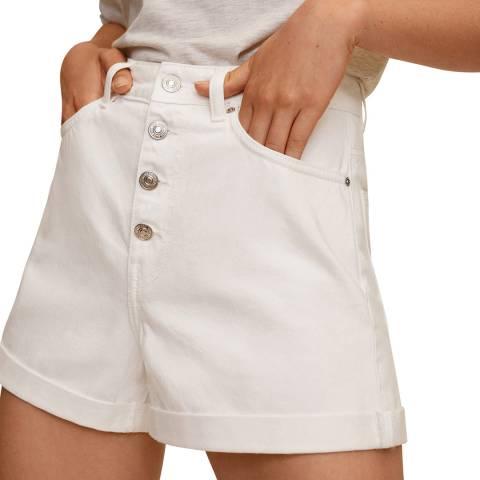 Mango White Buttoned Denim Cotton Shorts