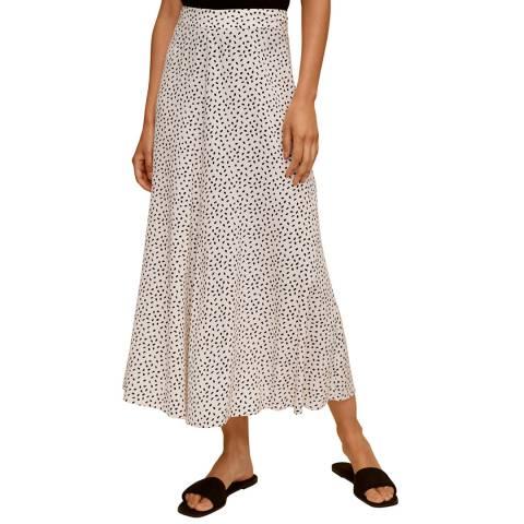 Mango Off White Printed Midi Skirt