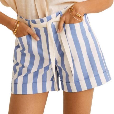 Mango Blue Rolled-Up Hem Cotton Shorts