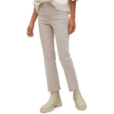 Mango Beige Crop Flared Cotton Jeans