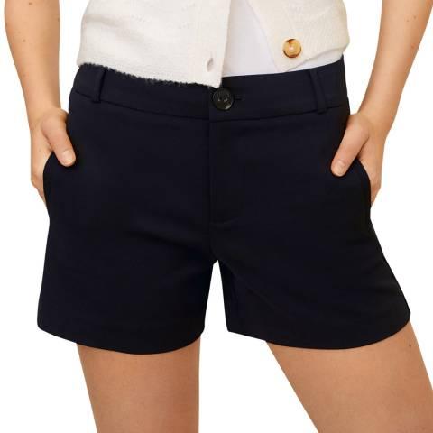 Mango Dark Navy Cotton-Blend Shorts