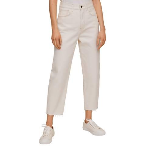 Mango Ecru Balloon Cotton Crop Jeans