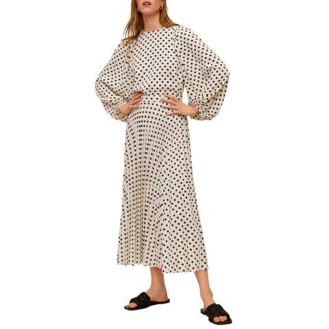 Mango Ecru Polka-Dot Midi Skirt