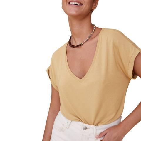 Mango Medium Brown V-Neckline Essential T-Shirt