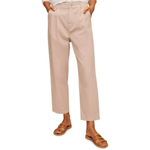Mango Pink Relaxed Cotton Trousers