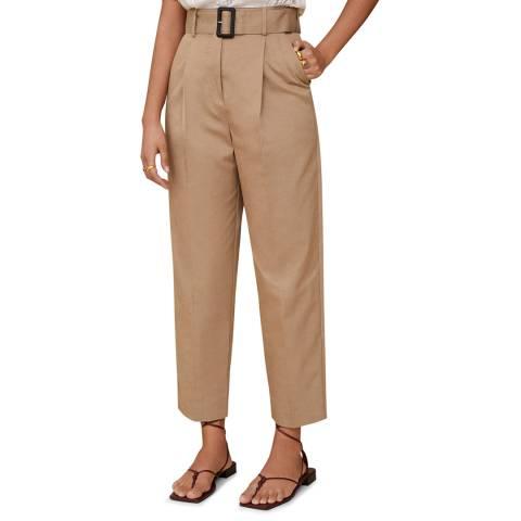 Mango Medium Brown Belt Straight-Fit Trousers