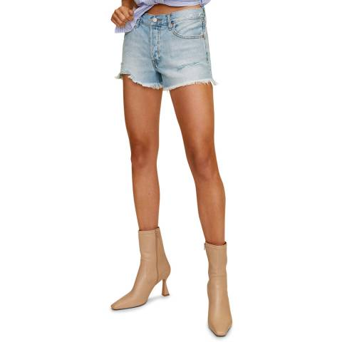 Mango Light Blue Frayed Hem Cotton Denim Shorts