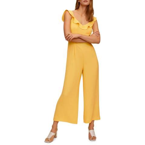 Mango Yellow Frilled Long Jumpsuit