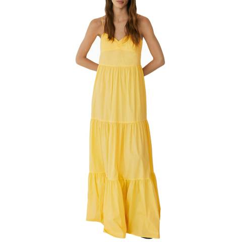 Mango Yellow Ruffled Poplin Cotton Blend Dress