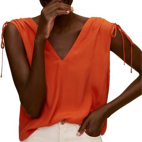 Mango Orange Ruched Detail Top