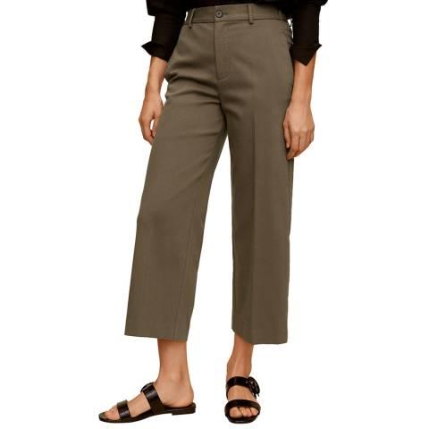 Mango Khaki Relaxed Fit Cropped Cotton Blend Trousers