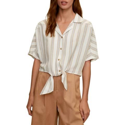 Mango Ecru Knot Cotton Shirt