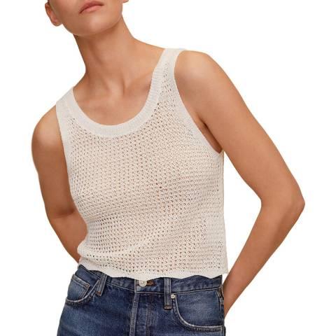 Mango Ecru Crochet Cotton Blend Top
