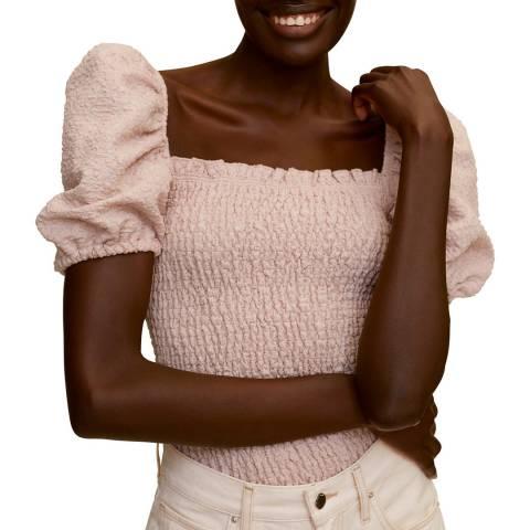 Mango Pastel Pink Cotton Blend T-Shirt