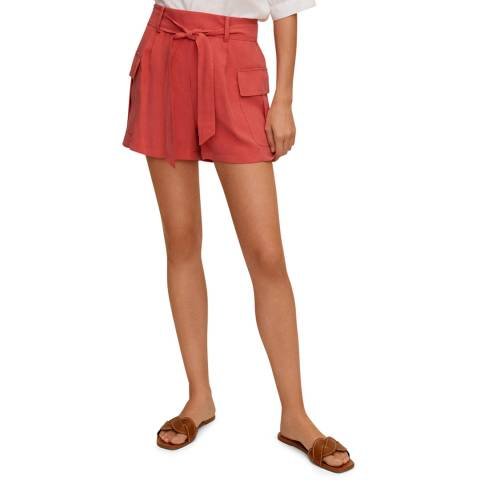 Mango Coral Red Side Pockets Shorts