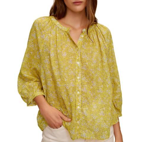 Mango Yellow Printed Cotton Blouse