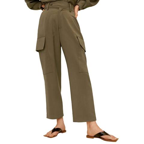 Mango Khaki Flowy Cargo Trousers