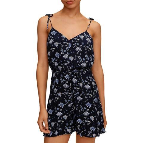 Mango Blue Floral Short Jumpsuit
