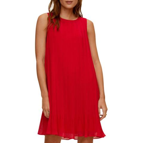 Mango Red Pleated Short Dress