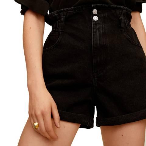 Mango Black Denim Ruched Cotton Short