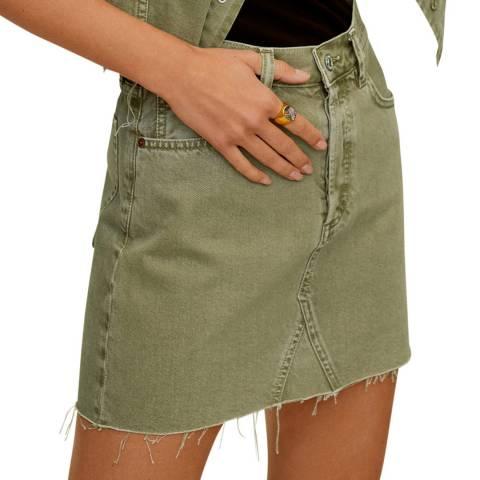Mango Khaki Denim Cotton Mini Skirt