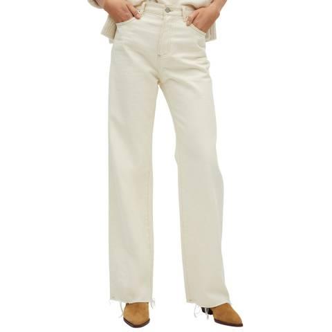 Mango Ecru Wide Leg High Waist Cotton Jeans