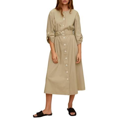 Mango Light/Pastel Grey Buttons Cotton Dress