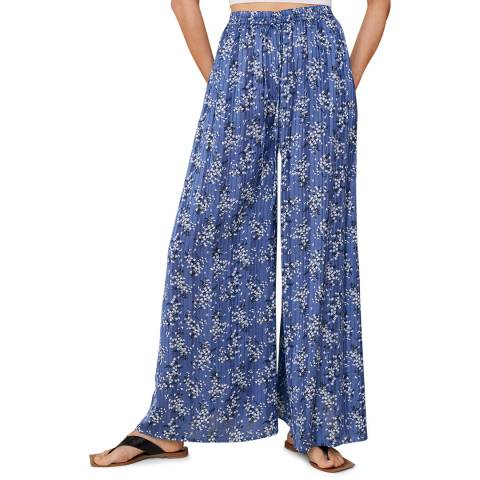 Mango Blue Pleated Floral Trousers