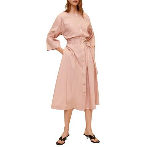 Mango Pastel Pink Buttons Cotton Dress