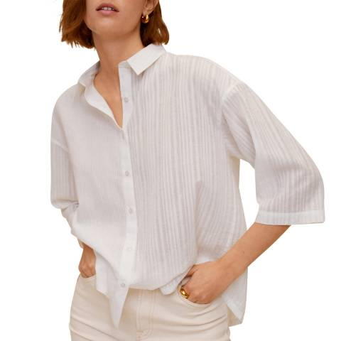 Mango Off White Striped Textured Cotton Shirt
