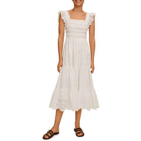 Mango Off White Ruflled Cotton Dress