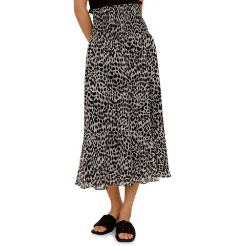 Mango Black Leopard Midi Skirt