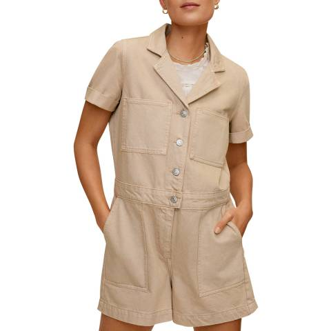 Mango Beige Denim Short Cotton Jumpsuit