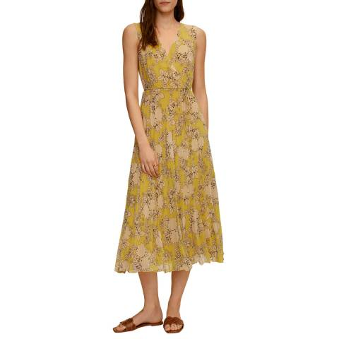 Mango Yellow Pleated Floral Dress