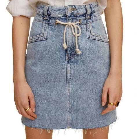 Mango Medium Blue Knot Cotton Denim Skirt