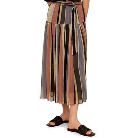 Mango Pink Striped Midi Skirt