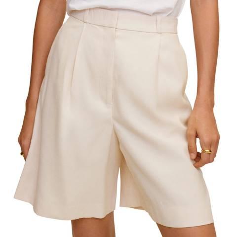 Mango Light/Pastel Grey High Waist Suit Bermuda Shorts