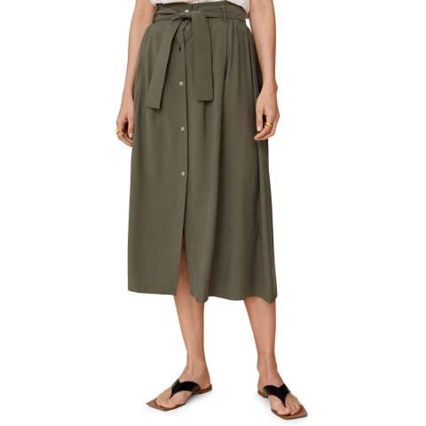 Mango Khaki Bow Midi Skirt