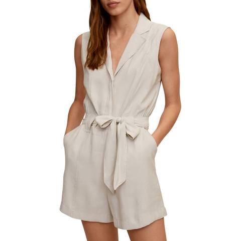 Mango Light/Pastel Grey Bow Short Jumpsuit