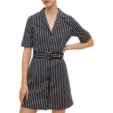 Mango Dark Navy Cotton Belted Dress