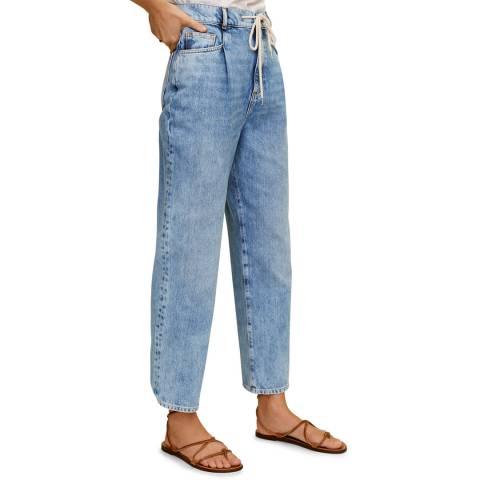 Mango Medium Blue Cotton Straight-Fit Jeans