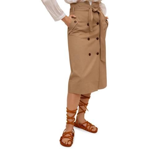 Mango Medium Brown Double-Breasted Skirt