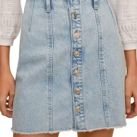 Mango Medium Blue Buttoned Cotton Denim Skirt