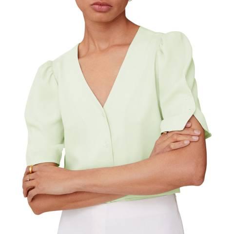 Mango Pastel Green Puff Sleeves Blouse
