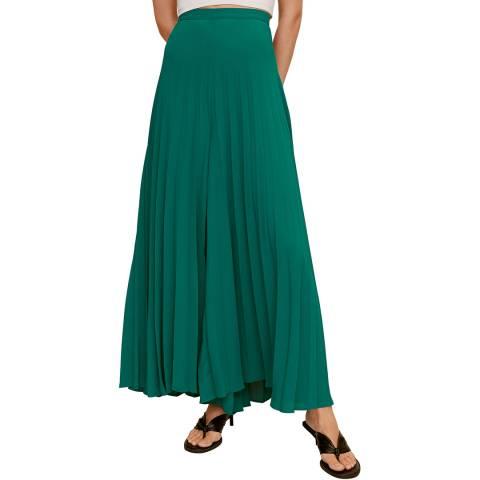Mango Emerald Green Pleated Palazzo Trousers