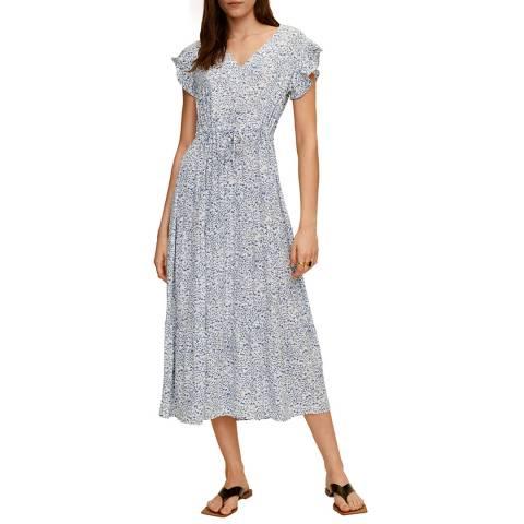 Mango Blue Midi Floral Dress