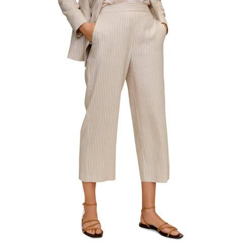 Mango Beige Striped Linen-Blend Trousers