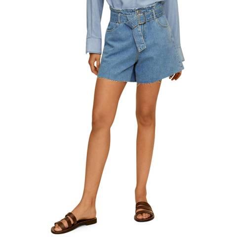 Mango Blue Belted Cotton Denim Short